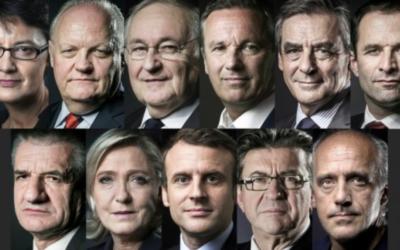 Les 11 candidats à l'élection présidentielle française de 2017. (Crédit : Joël Saget/Eric Feferberg/AFP)