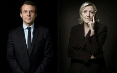 Emmanuel Macron et Marine Le Pen sont qualifiés pour le 2e tour de l'élection présidentielle française, le 23 avril 2017. (Crédit : Eric Feferberg et Joël Saget/AFP)