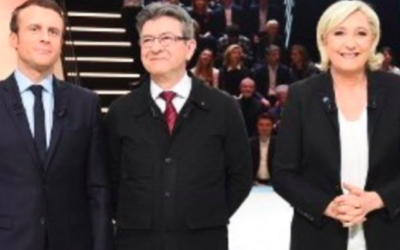 Emmanuel Macron, Jean-Luc Mélenchon et Marine Le Pen (Crédit : AFP / Pool / Eliot Blondet)