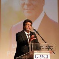 Meyer Habib, député de la 8e circonscription des Français de l'étranger, intervenant lors du meeting de soutien à François Fillon, en avril 2017. (Crédit : Gideon Markowicz)
