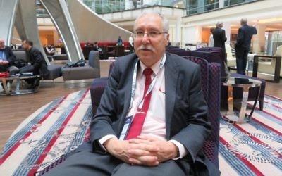 Gerald Steinberg, fondateur de l'ONG Monitor, lors de la conférence politique annuelle de l'AIPAC à  Washington (Crédit : Ron Kampeas)