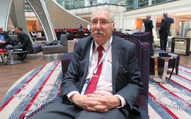 Gerald Steinberg, fondateur de l'ONG Monitor, lors de la conférence politique annuelle de l'AIPAC à Washington. (Crédit : Ron Kampeas)