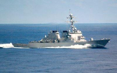 Le destroyer USS Mahan en septembre 2002 (Crédit : Domaine public/ Mate Airman Rex Nelson, US Navy/Wikipedia)