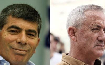 Gabi Ashkenazi, à gauche en 2011, et Benny Gantz, en 2016, tous deux ancien chefs d'état-major de l'armée israélienne. (Crédit : Miriam Alster et Tomer Neuberg/Flash90)