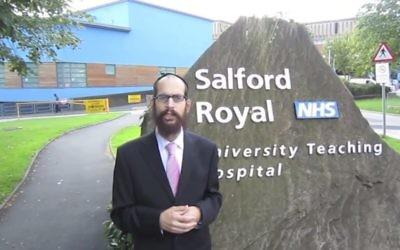 Le rabbin Shneur Odze, candidat de l'UKIP à la mairie de Manchester, en août 2013. (Crédit : capture d'écran YouTube)