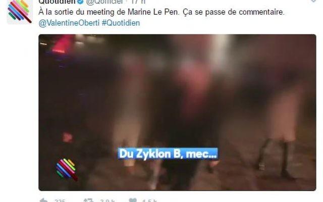 Des sympathisants FN, en sortant du meeting de Marine Le Pen, évoque en riant le gaz et le Zyklon B, le 17 avril 2016. (Crédit: capture d'écran Twitter/Quotidien)