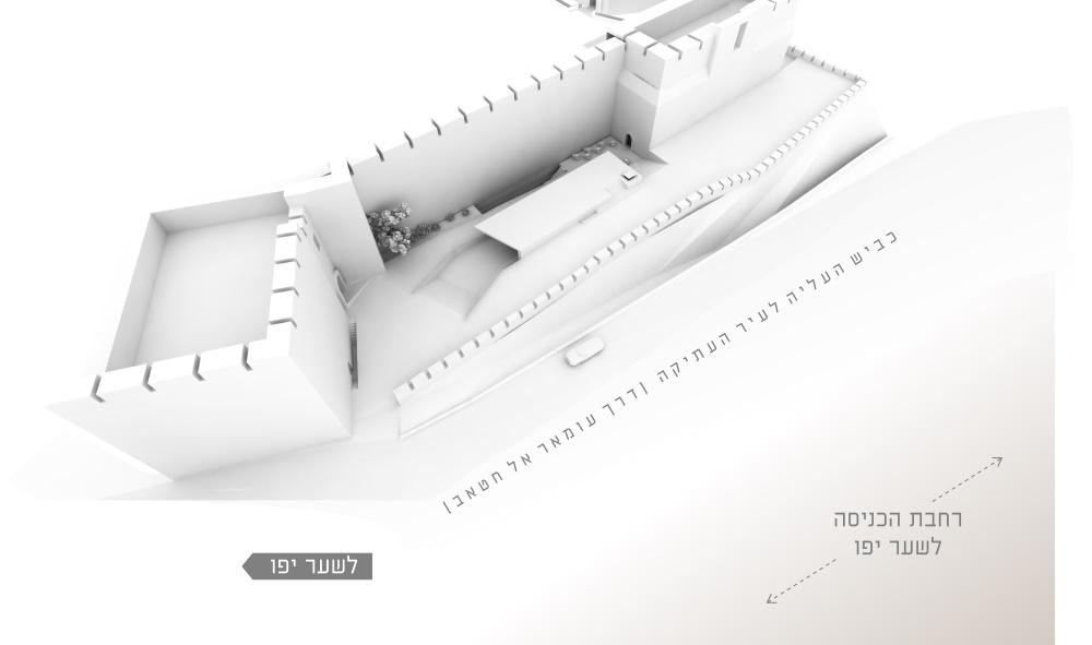 Les plans pour la rénovation prévue de la Tour de David, qui incluent des fouilles archéologiques au dessous de la porte de Jaffa (Autorisation Kimmel Eshkolot Architects)
