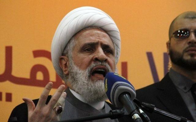 Le cheikh Naim Qassem, chef adjoint du Hezbollah, au Liban, le 13 mai 2016. (Crédit : AFP/STRINGER)