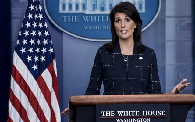 Nikki Haley, ambassadrice américaine aux Nations unies, à la Maison Blanche, le 24 avril 2017. (Crédit : Brendan Smialowski/AFP)