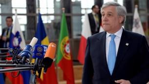 Antonio Tajani, président du Parlement européen, à Bruxelles, le 29 avril 2017. (Crédit : Thierry Charlier/AFP)