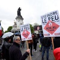 Concert contre le Front national organisé notamment par SOS Racisme et l'UEJF sur la place de la République, à Paris, le 4 mai 2017. (Crédit : Bertrand Guay/AFP)