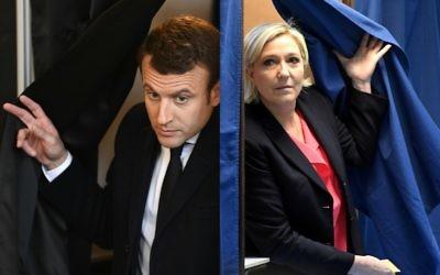 Sortie de l'isoloir pour les deux candidats du second tour de la présidentielle française, au Touquet pour Emmanuel Macron et à Hénin-Beaumont pour Marine Le Pen, le 7 mai 2017. (Crédit : Eric Feferberg et Alain Jocard/Pool/AFP)