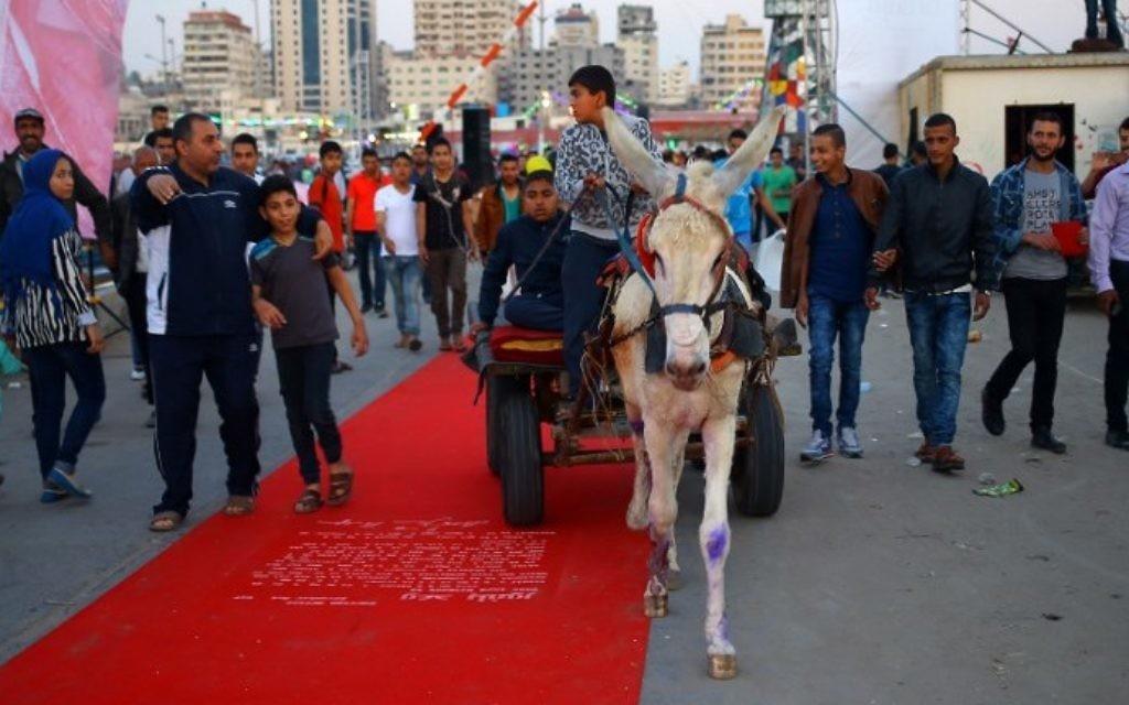 Un Palestinien sur le tapis rouge sur lequel est inscrit le texte de la déclaration Balfour, à Gaza Ville, le 12 mai 2017. (Crédit : Mohammed Abedi/AFP)