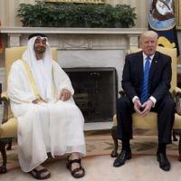 Le président américain Donald Trump avec le prince héritier d'Abu Dhabi Mohammed Ben Zayed Al Nahyan dans le Bureau ovale de la Maison Blanche, le 15 mai 2017. (crédit : Saul Loeb/AFP)