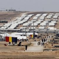 Le camp de réfugiés syriens d'Azrak, en Jordanie, le 17 mai 2017. (Crédit : Ahmad Abdo/AFP)