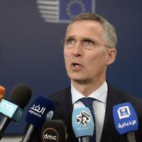 Jens Stoltenberg, secrétaire général de l'OTAN, au Conseil de l'Union européenne, à Bruxelles, le 18 mai 2017. (Crédit : Thierry Charlier/AFP)