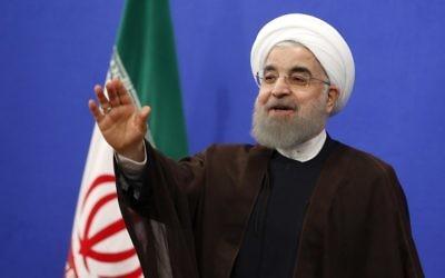 Hassan Rouhani, le président iranien, pendant un discours télévisé à Téhéran, le 20 mai 2017. (Crédit : Atta Kenare/AFP)