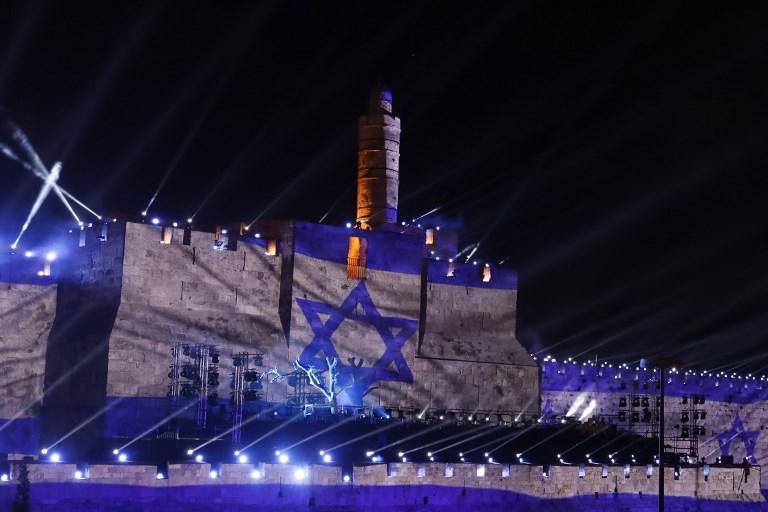 Cérémonie du 50e anniversaire de la réunification de Jérusalem, le 21 mai 2017. (Crédit : Gali Tibbon/AFP)