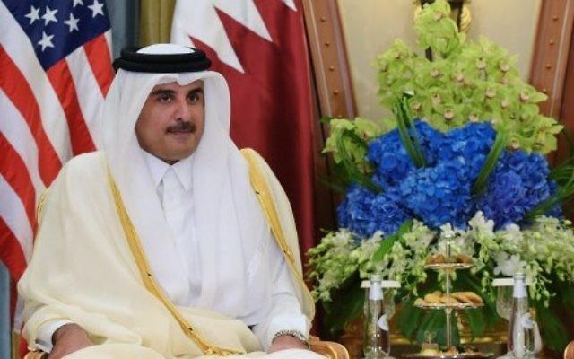 L'émir du Qatar, le cheikh Tamim Ben Hamad Al-Thani, à Ryad, lors de la visite du président américain Donald Trump, le 21 mai 2017. (Crédit : Mandel Ngan/AFP)