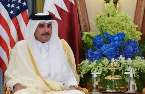 L'émir du Qatar Sheikh Tamim Bin Hamad Al-Thani à Riyad, lors de la visitie du président américain Donald Trump, le 21 mai 2017. (Crédit : AFP/MAndel Ngan)