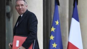 François Bayrou, ministre français de la Justice, à l'Elysée, à Paris, le 24 mai 2017. (Crédit : Stéphane de Sakutin/AFP)