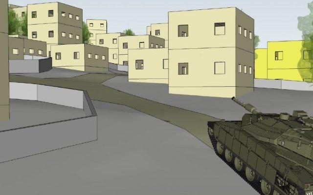 Plan d'un nouveau centre d'entraînement à la guerre urbaine qui simule un village libanais, dans le nord d'Israël, le 29 mai 2017. (Crédit : unité des porte-paroles de l'armée israélienne)
