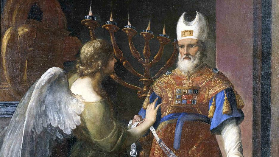 Détail d'une peinture d'Andrea Sacchi's painting, 'L'avènement de Zacharias,' circa 1641-49. (Crédit : Vatican Museums/Jewish Museum of Rome)