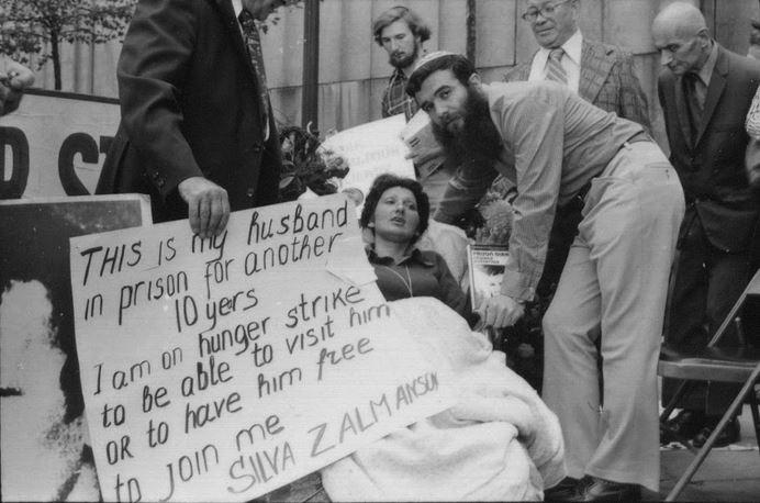 Sylva Zalmanson en grève de la faim protestant pour la libération d'une prison soviétique de son époux Edward Kuznetsov (Autorisation)