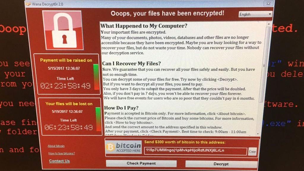 Un ordinateur du NHS britannique infecté par le 'ransonware' WannaCry, le 12 mai 2017. (Crédit : Twitter/@fendifille)