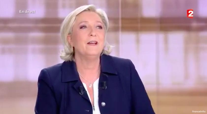 Marine Le Pen, le 4 mai 2017 (Crédit : capture d'écran France TvInfo)