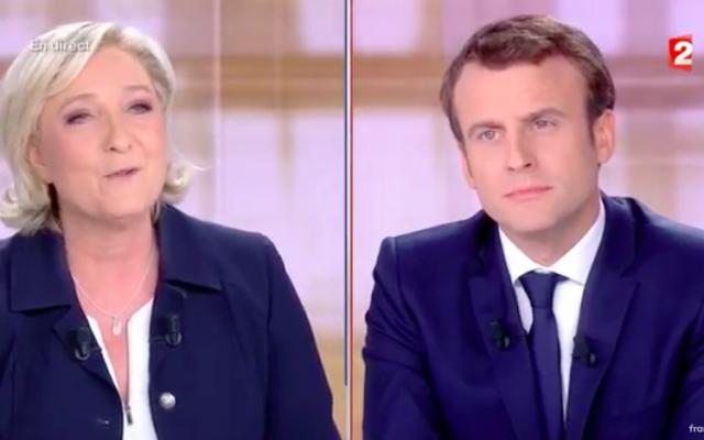 Marine Le Pen et Emmanuel Macron, le 4 mai 2017 (Crédit : Capture d'écran France TVInfo)