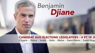 Affiche de campagne de Benjamin Djiane, candidat du PS dans la 8e circonscription des Français de l'étranger. (Crédit : autorisation)