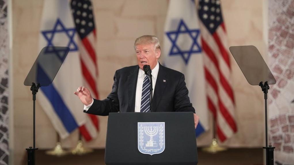 Le président américain Donald Trump au musée d'Israël de Jérusalem, le 23 mai 2017. (Crédit :  Yonatan Sindel/Flash90)