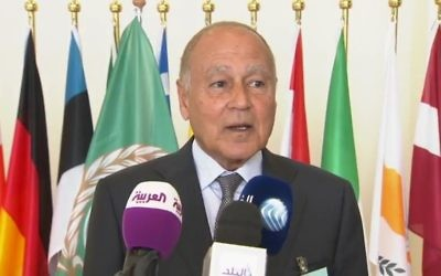 Ahmed Aboul Gheit, dirigeant de la Ligue arabe, en avril 2017. (Crédit : capture d'écran YouTube)