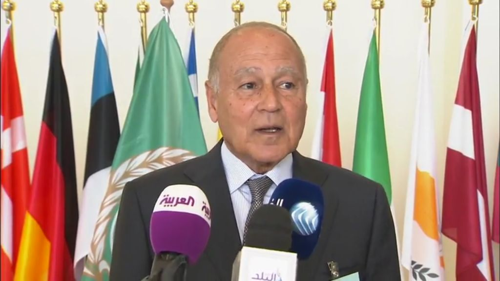 Ahmed Aboul Gheit, dirigeant de la Ligue arabe, en avril 2017. (Crédit : capture d'écran YouTube)