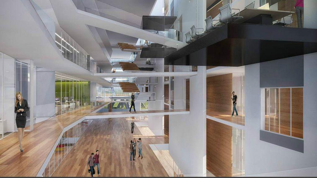 Illustration de l'intérieur du complexe de bureaux de Mobileye (Autorisation : Moshe Tzur Architects & Town Planners Ltd.)
