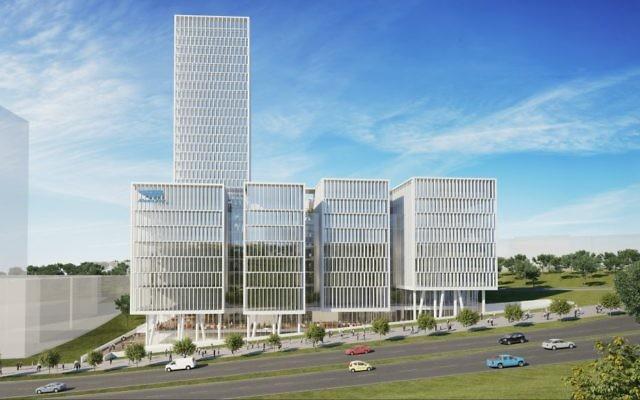 Une illustration de l'extérieur du complexe de bureaux de  Mobileye prévu  (Autorisation : Moshe Tzur Architects & Town Planners Ltd.)