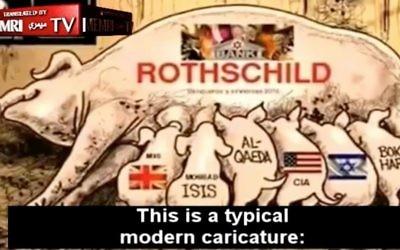 Un reportage de la Première chaîne russe présente une bande dessinée antisémite décrivant une truie marquée d'une étoile de David et du mot « Rothschild » allaitant six porcelets (avec les mots MI6, ISIS, Al-Qaïda, CIA, Israël et Boko Haram écrits sur eux) comme une « caricature moderne et typique » (Crédit : Capture d'écran/MEMRI-TV)