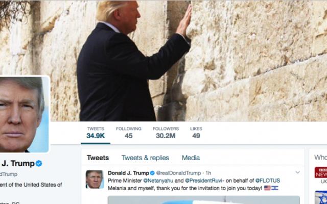 Page Twitter du président américain Donald Trump le 22 mai 2017 (Capture d'écran)
