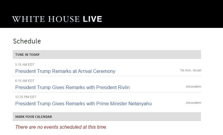 """Le site de la Maison Blanche annonce le programme de Trump en indiquant seulement """"Jérusalem"""", le 22 mai 2017. (Crédit : capture d'écran The White House)"""