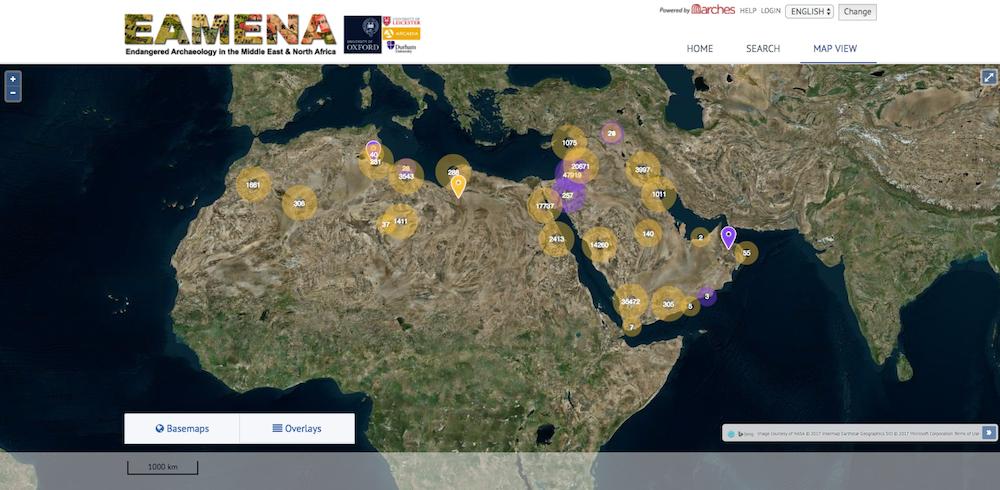 Carte du projet Archéologie en danger au Moyen Orient et en Afrique du Nord (EAMENA). (Crédit : autorisation)