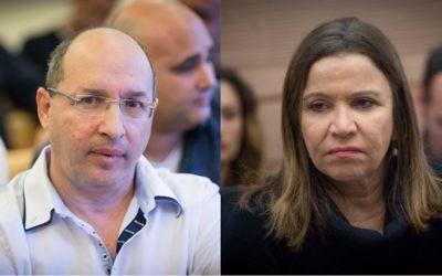 Le président sortant de la Histadrut Avi Nissenkorn, à gauche, et la députée Shelly Yachimovich. (Crédit : Yonatan Sindel/Miriam Alster/Flash90)