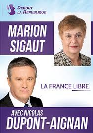 Affiche de campagne de Marion Sigaut, ex-déléguée nationale de Debout la République et soutien du propagandiste antisémite Alain Soral. (Crédit : autorisation)