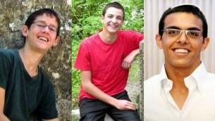 Les trois adolescents enlevés et assassinés, de gauche à droite : Naftali Fraenkel, Gil-ad Shaar et Eyal Yifrach (Crédit : autorisation)
