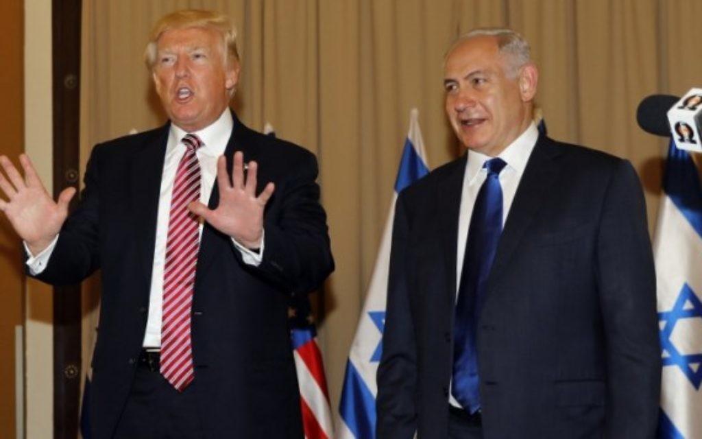Le président américain Donald Trump et le Premier ministre Benjamin Netanyahu, avant leur conférence de presse, à Jérusalem, le 22 mai 2017. (Crédit : Menahem Kahana/AFP)
