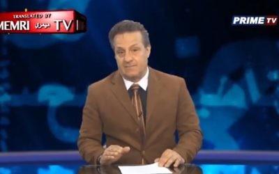 """L'animateur de télévision jordanienne Ayed Alqam cite le """"Protocole des Sages de Sion"""". (Crédit : MEMRI)"""
