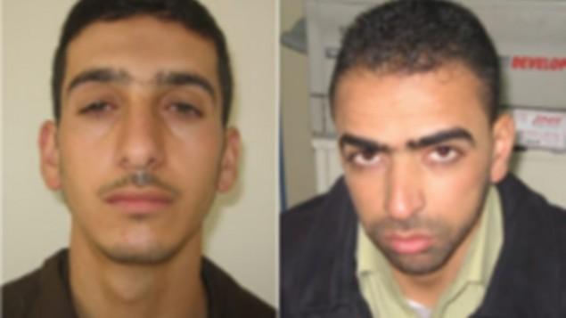 Marwan Kawasme (à gauche) et Amer Abu Aysha (à droite), les auteurs du kidnapping et du meurtre de trois adolescents israéliens en juin 2014. (Crédit Autorisation)