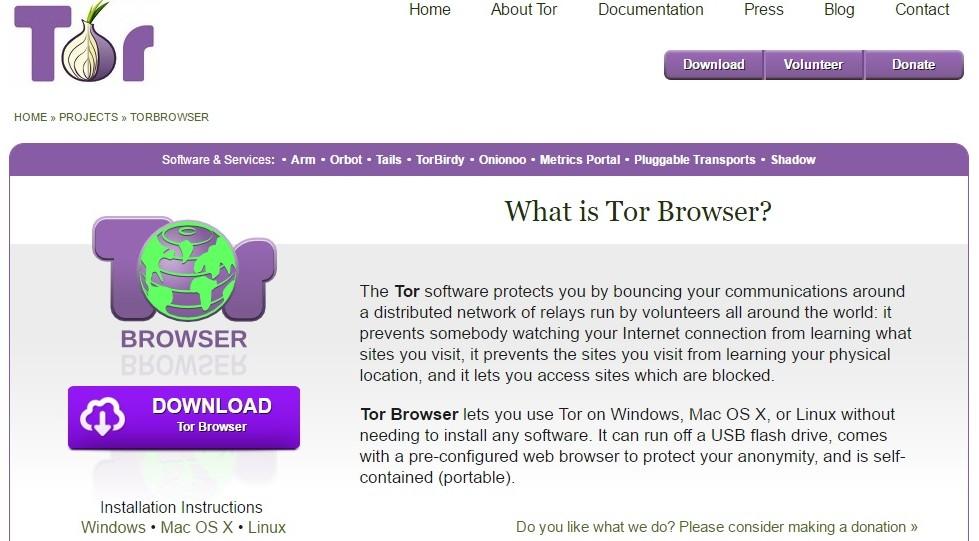 Page d'accueil du Projet Tor. (Crédit : capture d'écran)