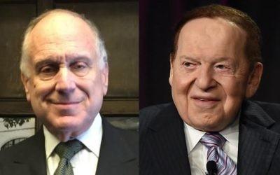 Ronald Lauder, à gauche, et Sheldon Adelson. (Crédits : Amanda Borschel-Dan/Times of Israël et Ethan Miller/Getty Images via JTA)