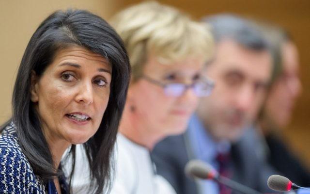 Nikki Haley, ambassadrice américaine aux Nations unies, au Conseil des droits de l'Homme de l'ONU, à Genève, le 6 juin 2017. (Crédit : Fabrice Coffrini/AFP)